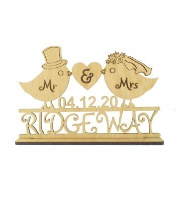 Laser Cut Oak Veneer Personalised 'Mr & Mrs' Wedding Sign on a stand - Bird Design