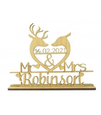 Laser Cut Oak Veneer Personalised 'Mr & Mrs' Wedding Sign on a stand - Deer & Stag Head Heart Design