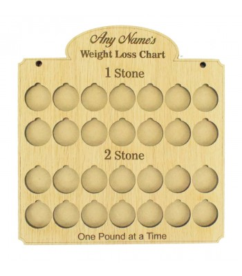 Laser Cut Oak Veneer Personalised 'Weight Loss Chart' Countdown £1 Coin Holder