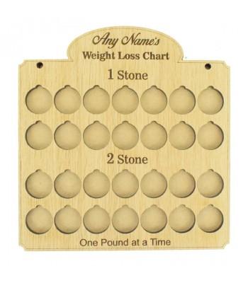 Laser Cut Oak Veneer Personalised 'Weight Loss Chart' Countdown £1 Coin Holder