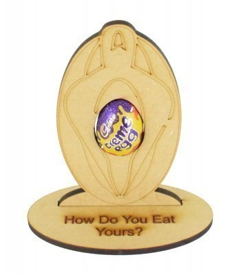 6mm Adults Creme Egg Vagina on a Stand Engraved with the wording 'How Do You Eat Yours?'