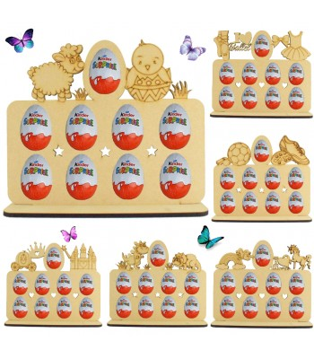 6mm Themed Plaque Kinder Egg Holder on a Stand - - Bargain Pack of 6 Assorted Plaques