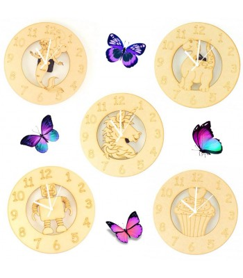 Clocks with Etched Shapes and Mechanisms Sample Pack for Crafters - Pack of 5