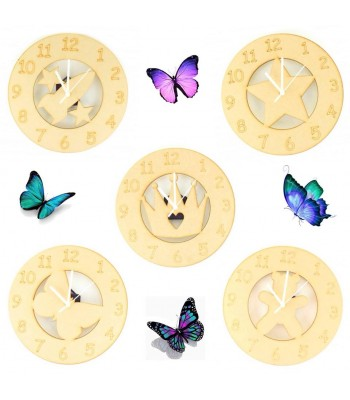 Clocks with Plain Shapes and Mechanisms Sample Pack for Crafters - Pack of 5