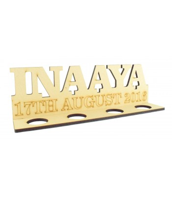 Laser Cut Personalised Name and Date on a Tealight Holder Stand - 6mm