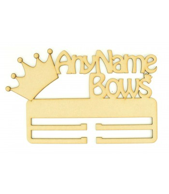 Laser Cut Personalised Large 'Bows' Double Rail/Holder with Crown