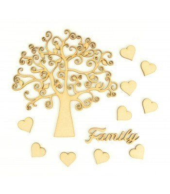 Laser Cut Swirl Tree Design with Hearts & Family Word - Family Tree Kit 1