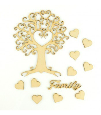 Laser Cut Swirls with Heart Tree Design with Hearts & Family Word - Family Tree Kit 2