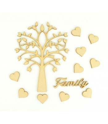 Laser Cut Symetrical Tree Design with Hearts & Family Word - Family Tree Kit 1