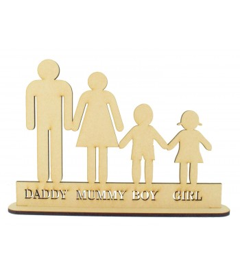 Laser Cut Personalised Basic Family on a Stand - 6mm