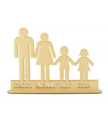 Laser Cut Personalised Basic Family on a Stand - 3mm