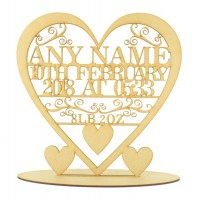 Laser Cut Large Personalised Baby Birth Details Heart with Swirl Detail on a Stand