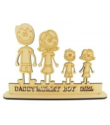 Laser Cut Personalised Cartoon Sketch Family on a Stand - 6mm