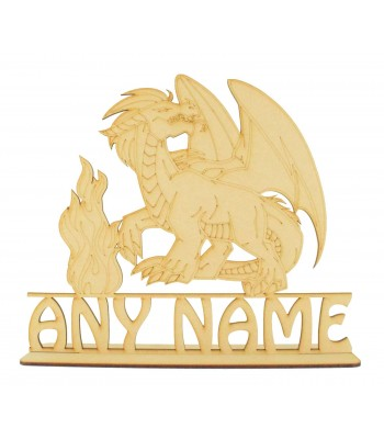 Laser Cut Personalised Large Detailed Dragon on a Stand with Name