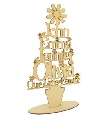 Laser Cut Personalised 'Our Little Family' Tree on a stand - Flower Design