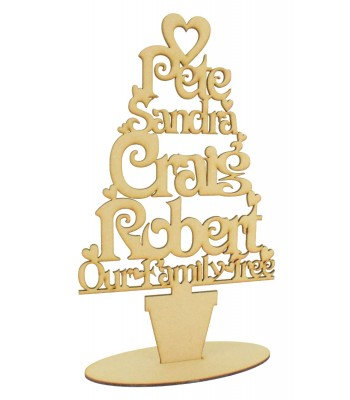 Laser Cut Personalised Family Tree on a stand - Heart Design