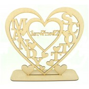Laser Cut Large Personalised Heart with 2 Names and Date on a stand