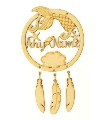 Laser Cut Personalised Mermaid Dream Catcher with Hanging Feathers