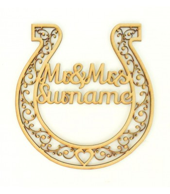 Laser Cut Personalised Mr & Mrs Horseshoe - Detailed Design