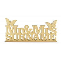 Laser Cut Personalised Mr & Mrs... Wedding Sign on stand - Butterfly Design