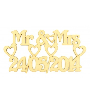 Laser Cut Personalised 'Mr and Mrs' with Date and Hearts