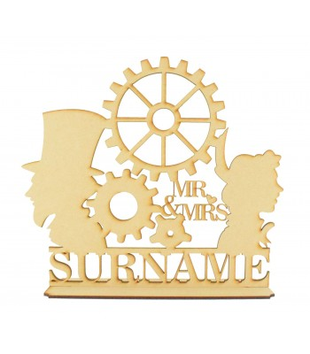 Laser Cut Personalised Large Steampunk Couple on a Stand with Surname