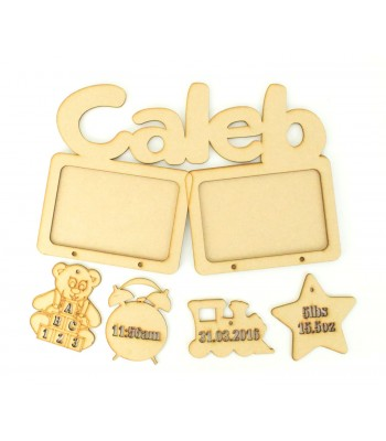 Laser cut Personalised Double Photo Frame with Hanging Shapes