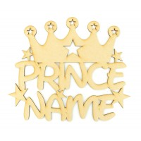 Laser Cut Personalised Prince Crown Sign With Stars