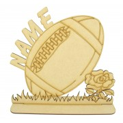 Laser Cut Large Personalised Rugby Ball Design on a Stand