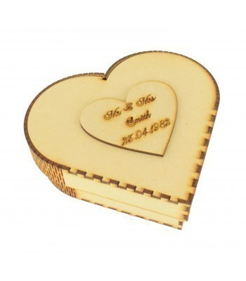 Laser Cut Personalised Small Love Heart Box - Token Storage Box, Gift Box