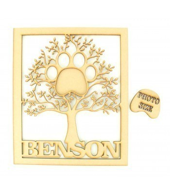 Laser Cut Personalised Pet Paw Photo Frame Tree inside a Frame