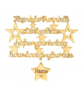 Laser Cut Personalised 'Twinkle Twinkle Little Star, Hope you know how loved you are' Quote Sign with hanging star