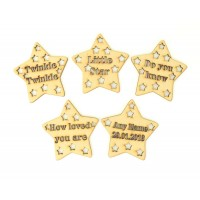 Laser Cut Personalised Set Of Twinkle Nursery Rhyme Stars