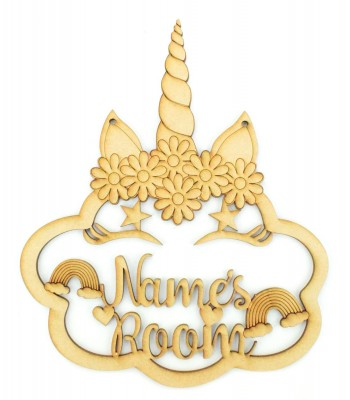 Laser Cut Personalised Unicorn Cloud Room Sign