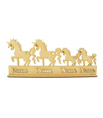 Laser Cut Personalised Unicorn Family on a Stand - 3mm