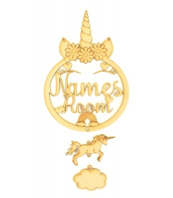Laser Cut Personalised Large Unicorn Dream Catcher Room Sign with Hanging Shapes