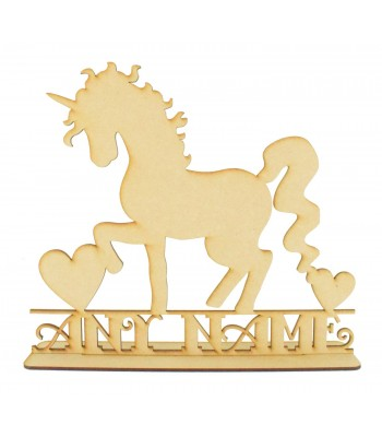 Laser Cut Personalised Large Unicorn Silhouette on a Stand with Name