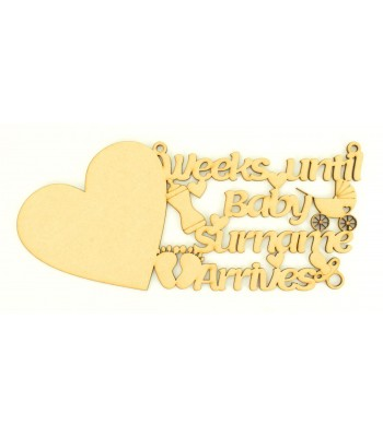 Laser Cut 'Weeks Until Baby Girl or Boy Arrives' Countdown Sign