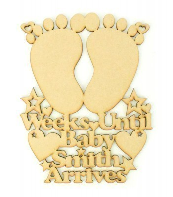 Laser Cut Personalised 'Weeks until Baby Arrives' Countdown Sign