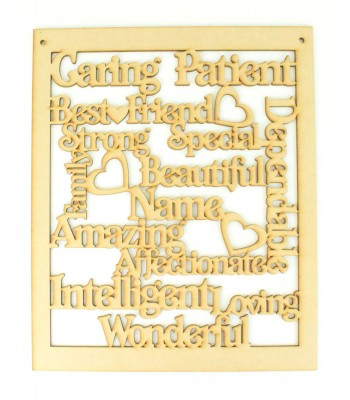 Laser Cut Personalised Large Best Friend Word Collage