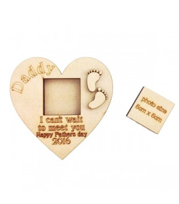 Laser Cut Personalised Baby Scan Heart Photo Frame  - 6mm