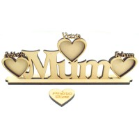Laser Cut Personalised Family Name with Frames On Stand - 6mm thickness