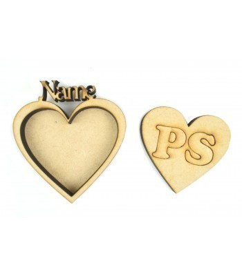 Laser Cut Single Small Heart Photo Frame with name on top - 6mm Frame, 3mm Back Board