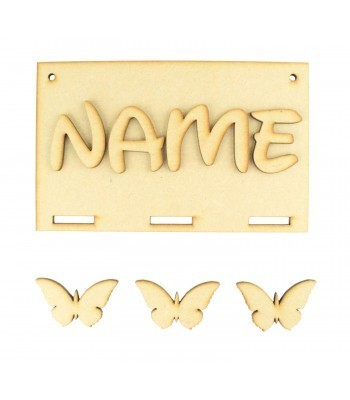 Laser Cut Personalised Ribbon Plaque with Letters & 3 Butterfly Shapes