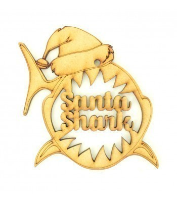 Laser Cut Personalised Santa Shark Head Decoration