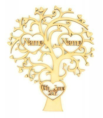 Laser Cut Personalised Tree with 2 Heart Frames with Names inside & 1 Heart Frame with a Date  - 200mm Size