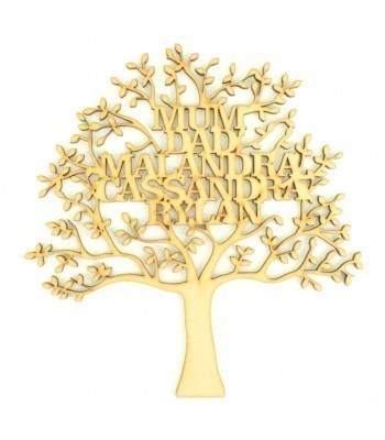 Laser Cut Personalised Family Tree - 200mm Size