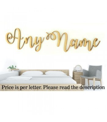 Laser Cut Personalised Large Wall Art Script Font - Options Available - Water Font