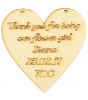 Laser Cut Personalised 'Thank you for being our flower girl' Heart Sign