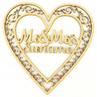 Laser Cut Personalised Mr & Mrs Heart - Detailed Design